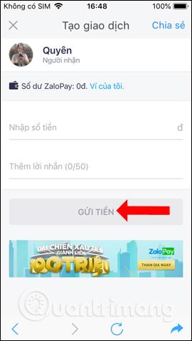 Gửi tiền trên Zalo