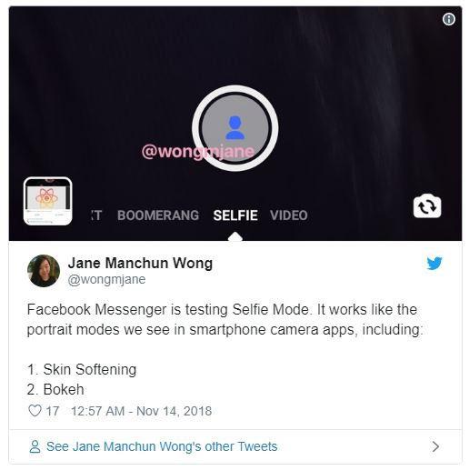 Wong phát hiện Facebook đang nghiên cứu Selfie Mode cho Messenger