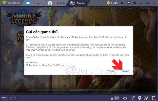 Đồng ý quyền truy cập của Mobile Legends PC