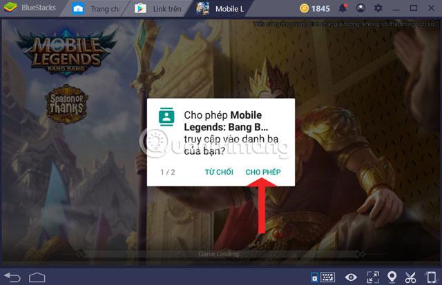 Cho phép truy cập danh bạ và bộ nhớ Mobile Legends PC
