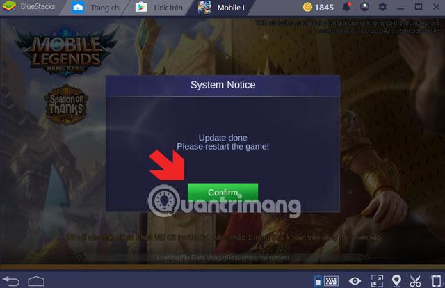 Thông báo Update Mobile Legends PC