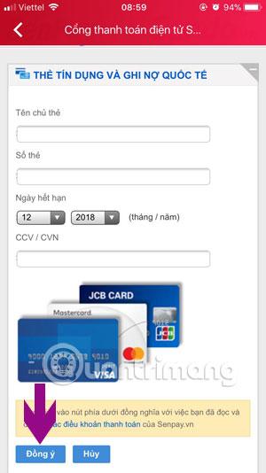 Thông tin thẻ thanh toán quốc tế Sendo
