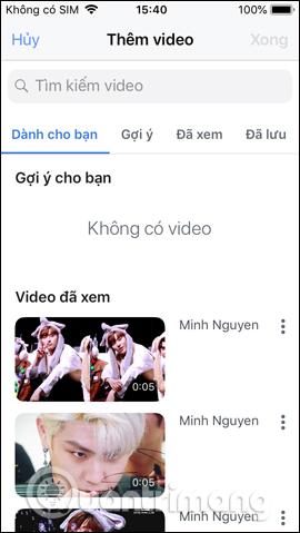 Giao diện tìm video