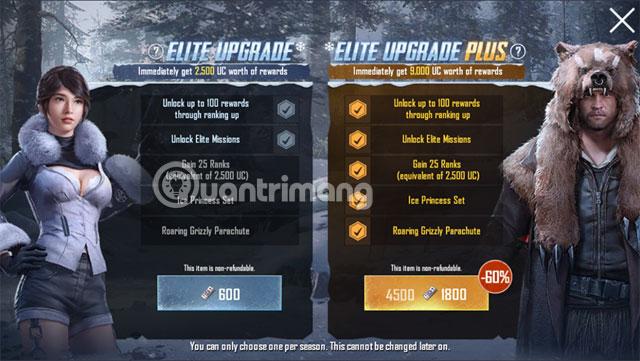 Chọn gói nâng cấp Royale Pass PUBG Mobile
