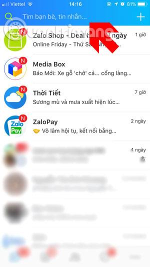 Giao diện chính ứng dụng Zalo