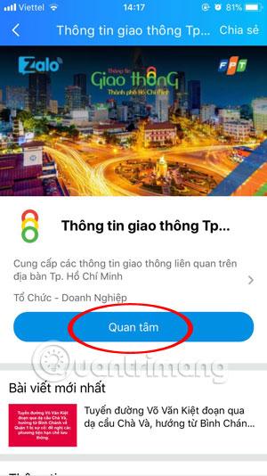 Giao diện trang Thông tin giao thông TpHCM
