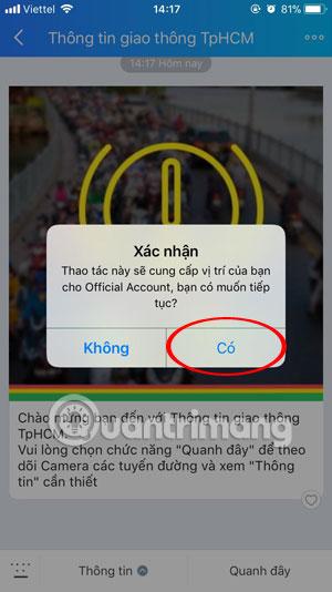 Xác nhận cung cấp vị trí cho Official Account Zalo