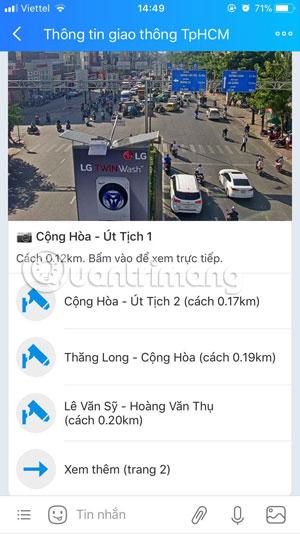 Danh sách camera giao thông Zalo ở gần bạn