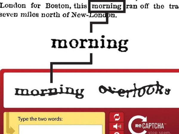 reCAPTCHA yêu cầu người dùng phải nhập 2 chữ cái khác nhau