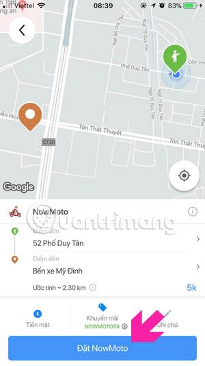 Tiến hành đặt xe Now.vn