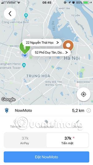 Cuốc xe trên 5km trên Now.vn