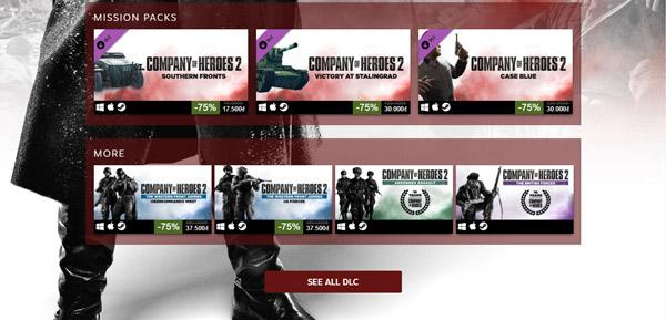 Khuyến mại giảm giá tất cả các DLC của game lên đến 75%