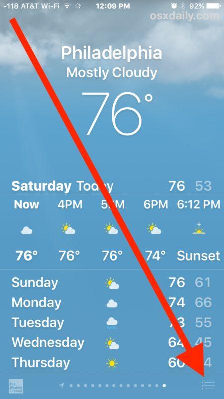 Vào menu của ứng dụng Weather