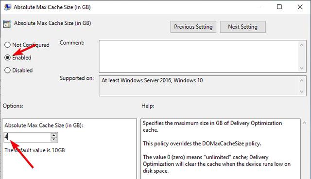 Trong cửa sổ thuộc tính của chính sách Absolute Max Cache Size (in GB), hãy chọn tùy chọn Enables