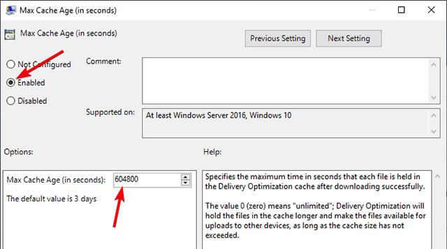Nhập khoảng thời gian bạn muốn giữ các tệp được lưu trong bộ nhớ cache tính bằng giây và nhấn Apply và OK