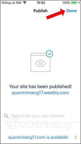 Trang web đã tạo