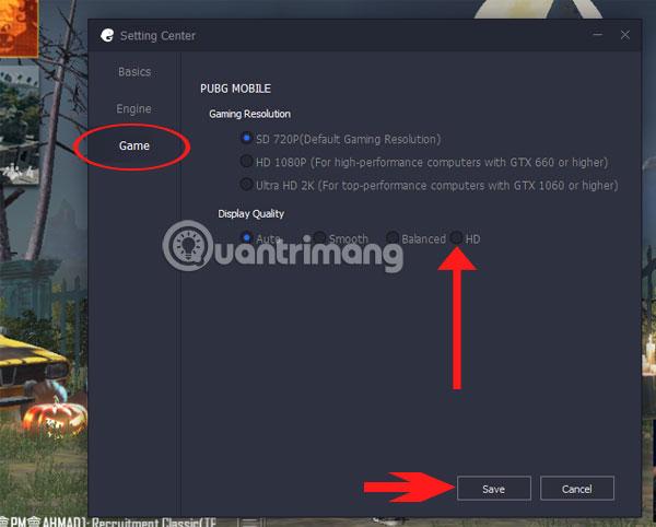 Cách chỉnh cấu hình PUBG Mobile VNG thành HD trên Tencent