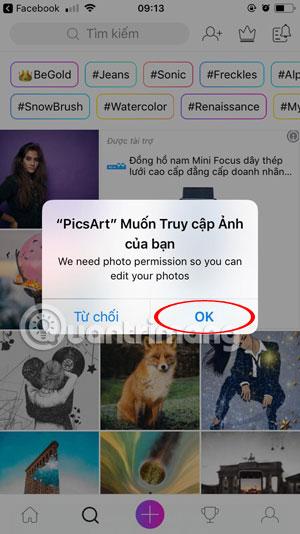 Giao diện đăng nhập PicsArt