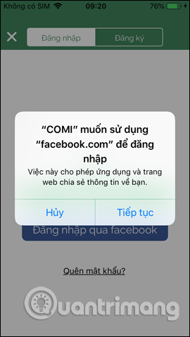 Đăng nhập qua Facebook