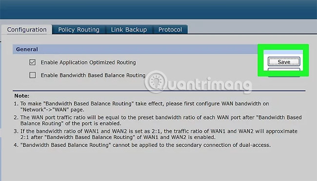 Enable Bandwidth Based Balance Routing