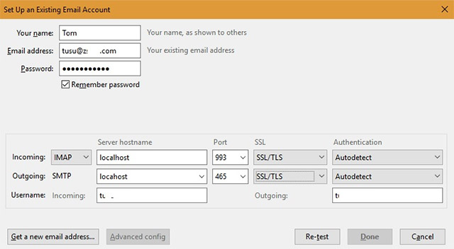 Theo hướng dẫn của hMailServer, hãy sử dụng cổng 143 cho cổng IMAP, cổng 993 cho IMAP thông qua SSL/TSL và chọn 465 hoặc 587 cổng SMTP.