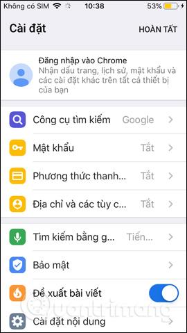 Giao diện Chrome iPhone