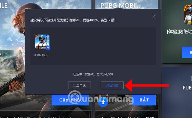 Bấm đồng ý nâng cấp PUBG Mobile VNG Tencent Gaming Buddy