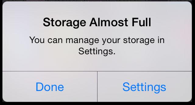 Dung lượng bộ nhớ đầy iPhone