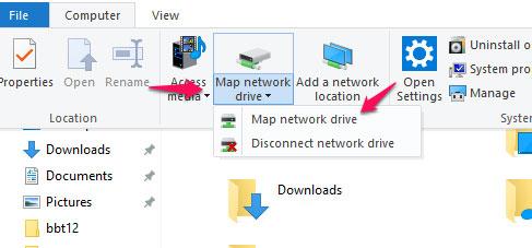 Chọn tab computer và trong menu ở trên cùng, bạn nhấp vào Map network drive và sau đó click chọn Map network drive.