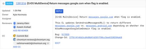 Google thông báo cho Chromebook về việc dừng sử dụng URL Android.com cho Messages và chuyển sang Google.com