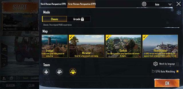 Chọn Chế độ PUBG Mobile
