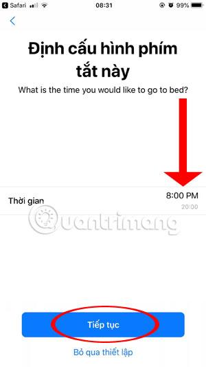 Thiết lập giờ đi ngủ iPhone