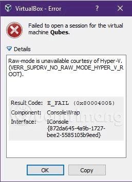 Thông báo lỗi khi chạy VirtualBox trên Windows 10
