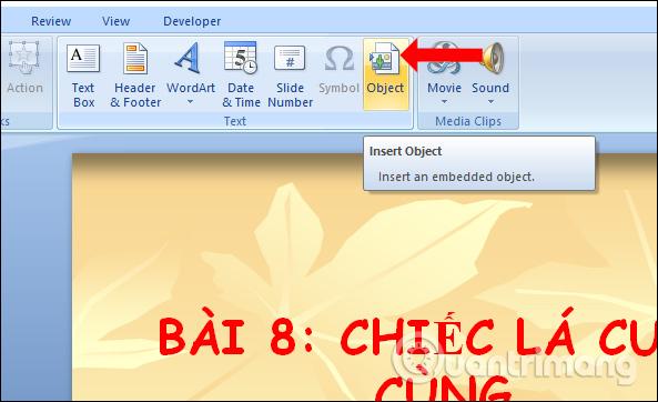 Cách đính kèm file trong PowerPoint