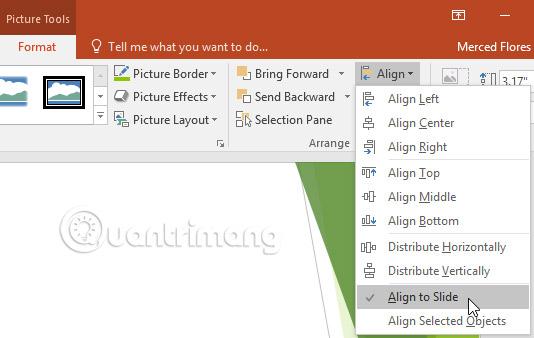 Chọn tab Format