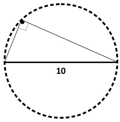 Khi đặt một tam giác vuông trong một đường tròn