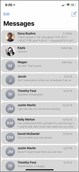 Giao diện tin nhắn nền xám