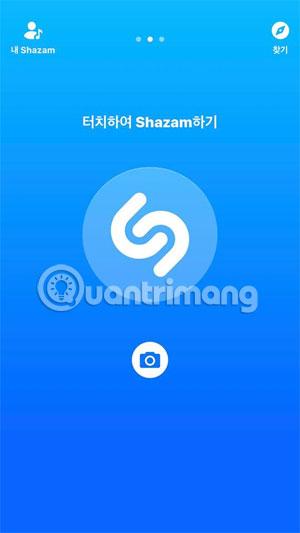 Màn hình chính Shazam