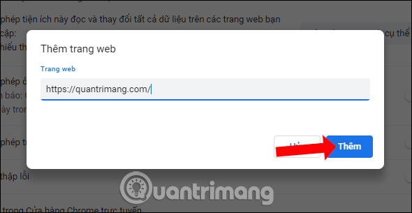 Nhập URL trang web