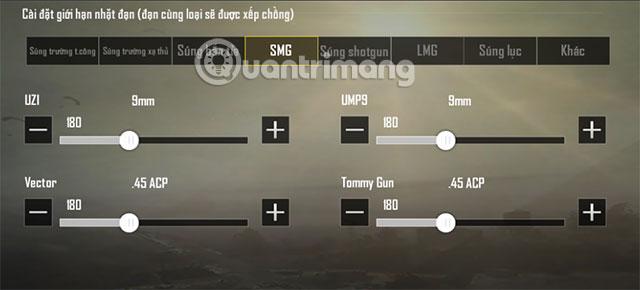 Chọn số lượng đạn tự động kích hoạt SMG