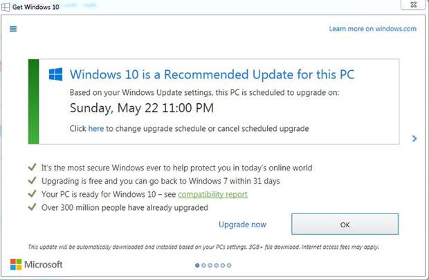 Microsoft ép buộc người dùng nâng cấp lên Windows 10