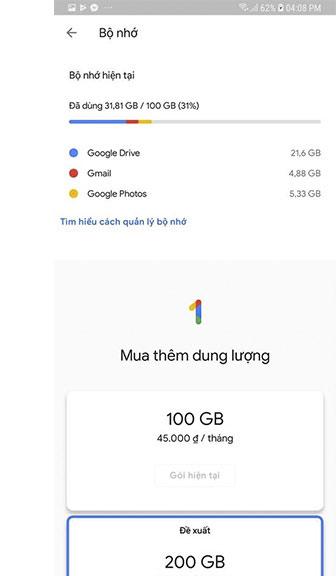 Các gói cước hàng tháng của Google One 2