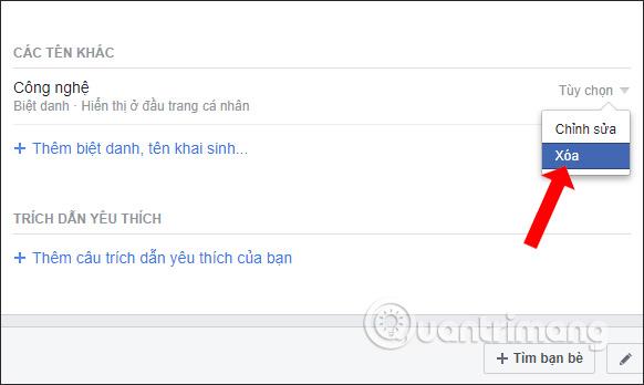Xóa tên phụ Facebook