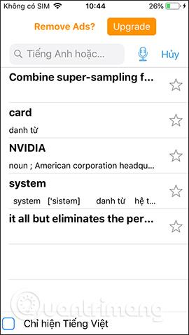 Danh sách từ dịch