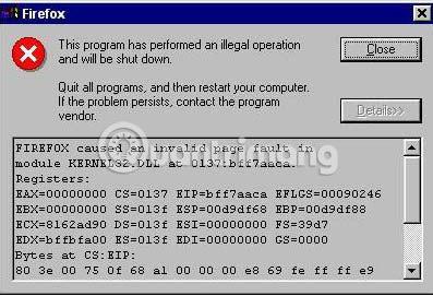 Khắc phục lỗi Illegal Operation trên máy tính