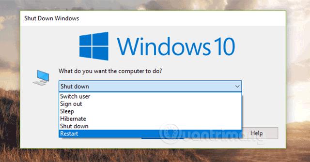Khởi động lại máy tính Windows 10