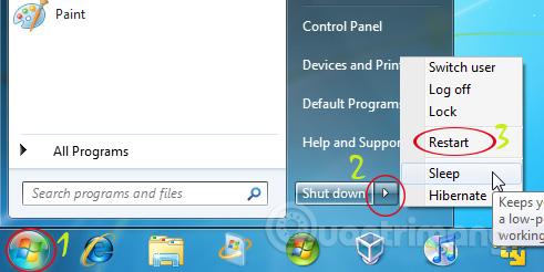 Khởi động lại Windows XP