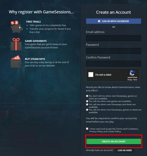 Đăng ký tài khoản GameSessions