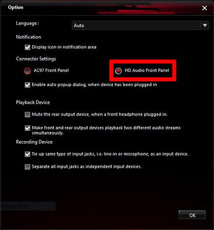 Bạn nhìn xuống mục Connector Settings và có thể thấy tùy chọn HD Audio Front Panel đã được bật.