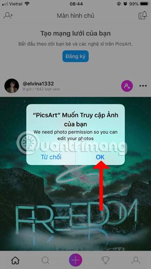 Cho phép PicsArt truy cập vào ảnh của bạn